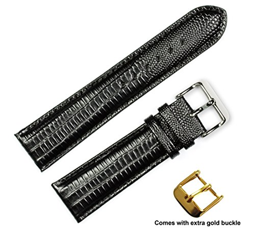 deBeer brand Teju Lizard Grain Watch Band (Silver & Gold Buckle) - Black 20mm -