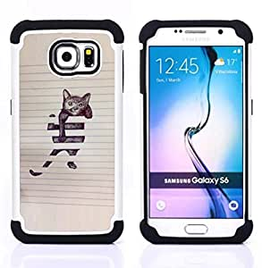 - cat funny cute painting sketch pet kitten/ H??brido 3in1 Deluxe Impreso duro Soft Alto Impacto caja de la armadura Defender - SHIMIN CAO - For Samsung Galaxy S6 G9200