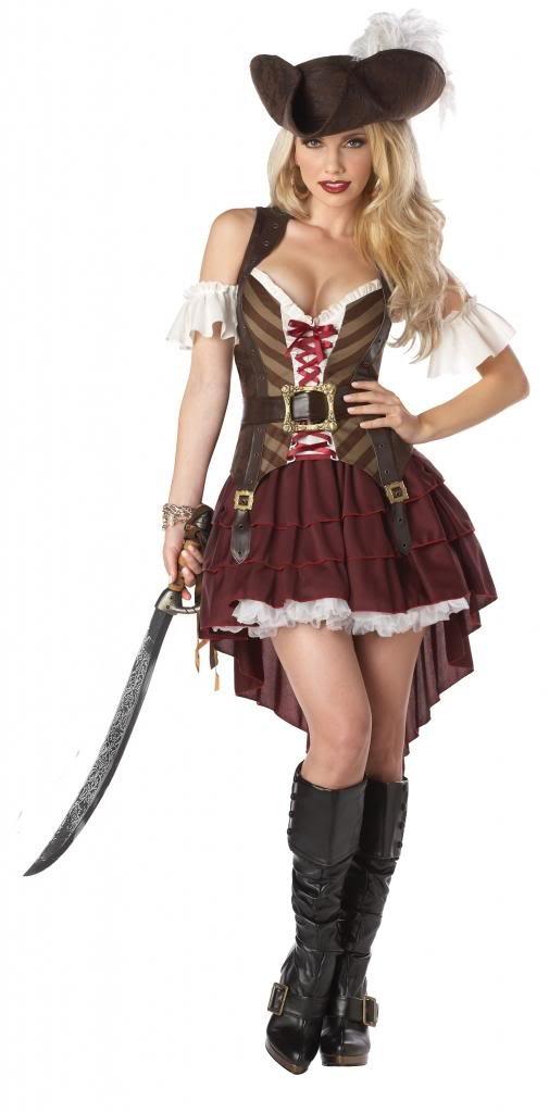 Sexy Mantel- und-Degen Pirat Kostüm Größen 6–14 [2 x l: 14–16]