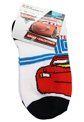 Disney Pixar's Cars Lightning McQueen White/Black Kids Socks (Size 4-6, 1 Pair)