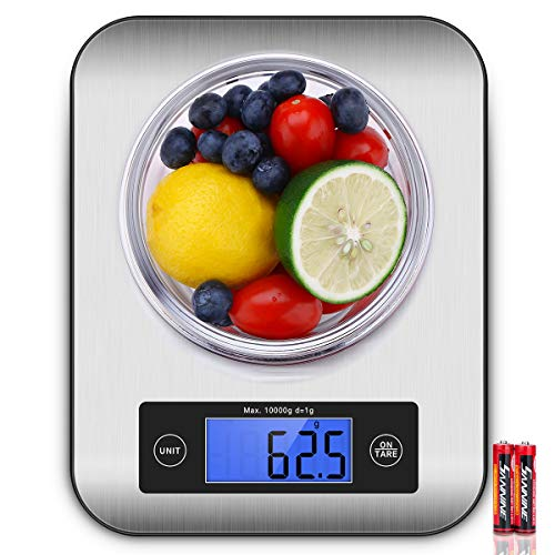 Digital Kitchen Food Scale, Cooking Scale with Stainless Steel Panel, Fast Unit Switching Kitchen Weighing Scale, Holds Up to 22 Ib/10 Kg (Silver)