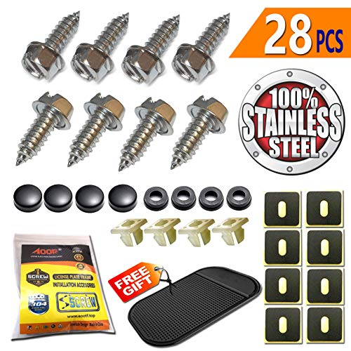 Aootf License Plate Frame Screws Fasteners -Stainless Steel Anti Rust and Caps for Securing License Plates, Frames, Covers on Domestic Cars and Trucks