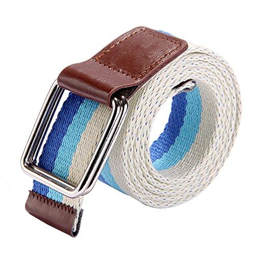Ayliss Unisex Canvas Web Belt Contrast Stripe Pattern Move Buckle Waistband