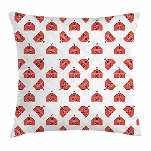 Lunarable Barn Door Throw Pillow Cushion Cover, Country Barn Pattern with Rooster Silhouette Weather Vane Farmer Theme, Decorative Square Accent Pillow Case, 24 X 24 Inches, Coral and Dark ()
