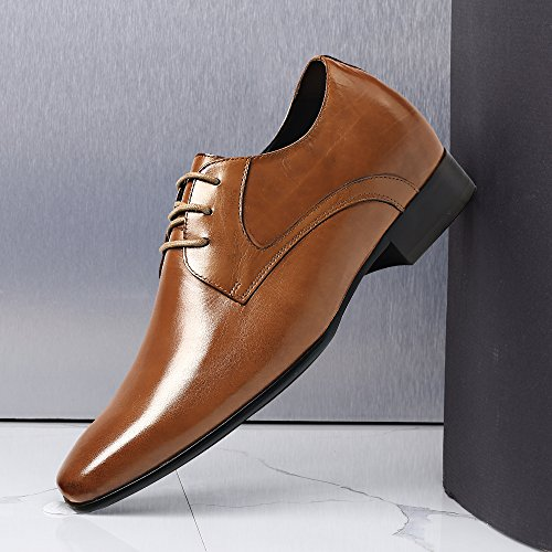 Chamaripa Mens Scarpe Da Ascensore Stile Oxford Scarpe Stringate In Pelle Di Vitello Marrone - 7cm Superiore-d08k02