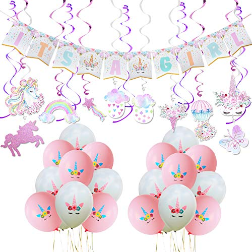 WERNNSAI Unicorn Baby Shower Decorations - Magical Unicorn Party Supplies Kit for Baby Girl Including IT'S A Girl BannerPink White Latex Balloons Ribbons Hanging Swirl Decorations 53 PCS]()