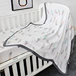 LifeTree-Baby-Muslin-BlanketFeather-Print-2-Layer-Toddler-Blanket-for-Baby-Girls-or-Baby-Boys-Lightweight-Crib-BlanketsStroller-Blankets