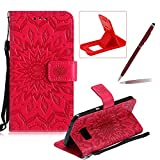 Wallet Case for Samsung Galaxy S7,Strap Flip Case for Samsung Galaxy S7,Herzzer Retro Elegant [Red Mandala Flower Pattern] Stand Function Magnetic Smart Leather Case with Soft Inner for Samsung Galaxy S7 + 1 x Free Red Cellphone Kickstand + 1 x Free Claret-Red Stylus Pen