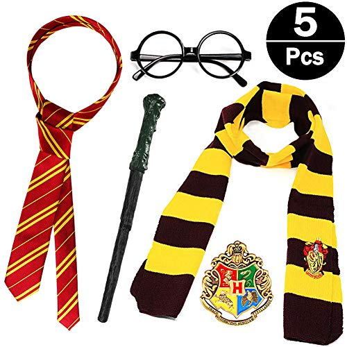 Qunan Magic Harry Wand Set Novelty Glasses Striped Knit Scarf Satin Tie with College Badge Party Favors Accessories Halloween Dress up Cosplay Costume for Kids Girls Boys(5 Pcs) -