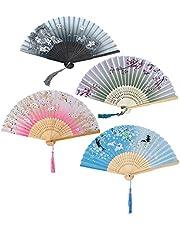 FGXY 4 Stuks Handwaaiers, Vouwhandwaaier, Handvouwventilatoren Voor Dames, Bamboe, Vouwbare Waaiers, Chinese Vintage Vouwwaaier Met Stoffen Hoes, Japanse Zakwaaiers Voor Wanddecoratie, Bruiloft
