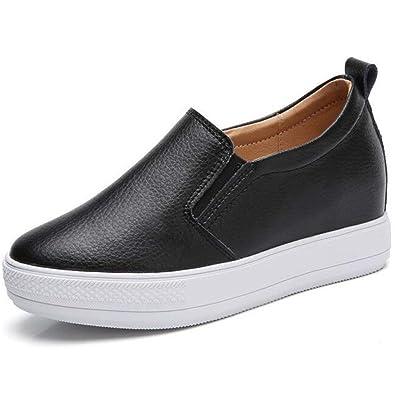2958f1019ee76 Women's Slip On Loafers Platform Hidden Heel Wedge Sneakers White Black  Flat Shoes Fashion Sneakers