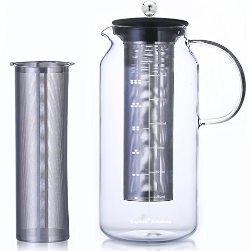 Large Glass Teapot with Infuser & Cold Brew Iced Coffee Maker -50oz/1.5L - Glass Pitcher with Removable Stainless Steel Filter - Stovetop & Freezer Safe - Coffee & Tea Brew Recipe Includ