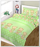 BlueberryShop 2 pcs BABY COT BED BUNDLE BEDDING SET DUVET+PILLOW COVERS matching cot bed 120 x 150 cm (47'' x 59'') (0-7Yrs) (150 x 120 cm) Green Happy Teddy