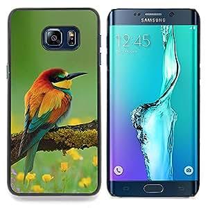 Eason Shop / Premium SLIM PC / Aliminium Casa Carcasa Funda Case Bandera Cover - Natura floreale Songbird Giallo - For Samsung Galaxy S6 Edge Plus / S6 Edge+ G928