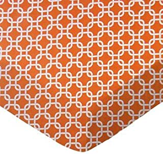 product image for SheetWorld 100% Cotton Percale Fitted Crib Toddler Sheet 28 x 52, Orange Links, Made in USA