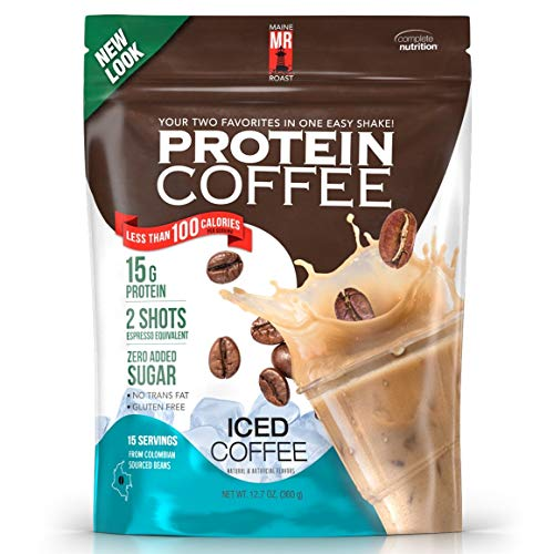 (Complete Nutrition | Maine Roast Protein Coffee | Iced Coffee Flavor | 15g Whey Protein | 2 Shots Espresso | 80 Calories | 12.7oz Pouch)