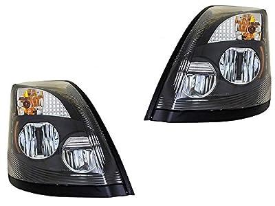 CPW (tm) 2004-2015 Volvo VN VNL VNM Truck LED Black Headlights - Real LED Light Source Headlights!
