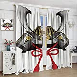 GUUVOR Japanese Shading Insulated Curtain Classic Japanese Kabuto Mask Silver Custom Medieval Period Icon Print Soundproof Shade W108 x L96 Inch Grey Vermilion Yellow