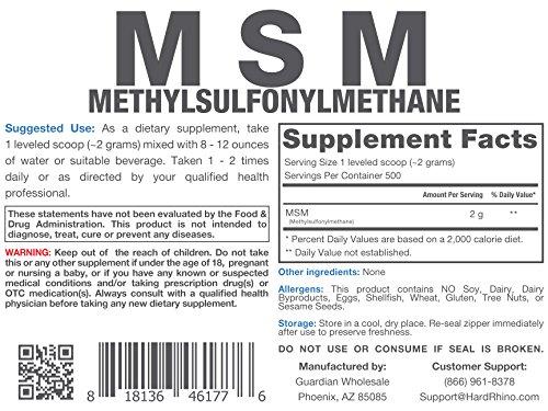 Hard Rhino MSM (Methylsulfonylmethane) Powder, 1000 Grams (2.2 Lbs), Unflavored, Lab-Tested, Scoop Included