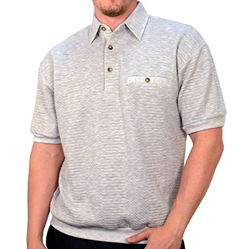 Banded Bottom Classics by Palmland Solid French Terry Polo Shirt - 6090-780 (Medium, (Terry Banded Bottom Shirt)