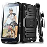 Evocel® Alcatel OneTouch Idol 4 [Generation Series] Rugged Holster [Kickstand & Belt Swivel Clip] + HD Screen Protector For Alcatel OneTouch Idol 4 (Cricket/AT&T) / Nitro 4, Black