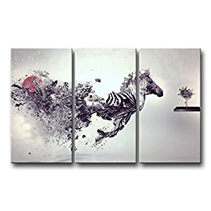 So Crazy Art 3 Piece Black And White Wall Art Painting Creative Smash Zebra  Pictures Prints On Canvas Animal The Picture Decor Oil For Home Modern ...