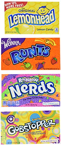 Movie Theater Candy 4 Flavor Variety Pack: (1) Rainbow Nerds, (1) Gobstopper, (1) Lemonhead, and (1) Runts, 5-6 Oz. Ea. (4 Boxes Total)