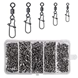AGOOL 270 pcs/box Fishing Swivel Snaps Connectors Big Szie High Strength Fishing Rolling Swivel Quick Snap Copper & Stainless Steel Fishing Tool Size 1 2 4 6 8#