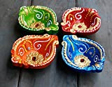 Oil Lamps Set of 4 Traditional Earthen Terracotta Diyas Candle Tea Light Holders Colorful Handpainted with Studded Stones Home Festive Decorations