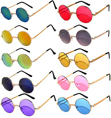 Round Retro Vintage Mirror Lens Gradient Lens Sunglasses Metal Frame 10 Pack Mix – Red Yellow Blue Green Pink Purple Smoke (Beatles Glasses)