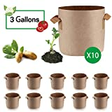 Anleolife 10-Pack 3 Gallon Plant Grow Bags, Fabric Planter Pots for Flowers Herbs Vegetables (Tan)