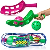 YoYa Toys Scoop Ball Game By Scoop Toss Set | Scoop Ball Toy For Kids & Adults | Jai Alai Thrower With 2 Balls | PVC Carry Bag | Toss & Catch Outdoor Game Set | Refund Guaranty