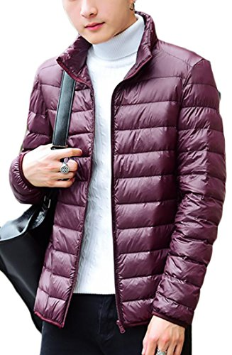 Coats Wine Casual Down Generic Red Stand Collar Men's Light Puffer 0Pqa8