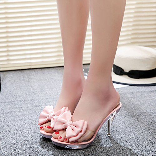 ZYUSHIZ L'été en plein air sandales pantoufles Plage Mme Noeud Papillon Version coréenne de diamants synthétiques ,Rose,38EU
