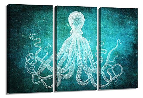 Modern Art Dark Green Octopus Canvas Art Picture Printed on Canvas Stretched and Framed For Home Retro Marine Life Hand Painted Sketch Background with White Octopus Wall Decor Art (Green) by YYL ART