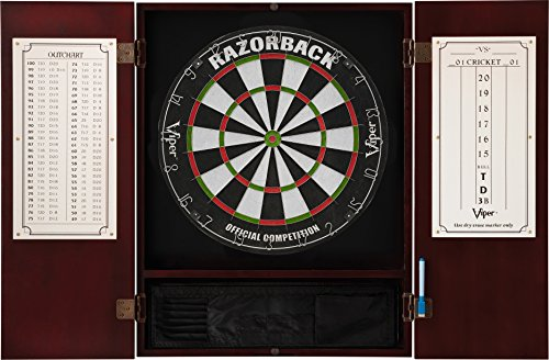 Viper Metropolitan Solid Wood Cabinet & Sisal/Bristle Dartboard Ready-to-Play Bundle: Premium Set (Razorback Dartboard and Darts), Mahogany ()