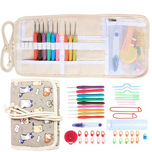 Damero Ergonomic Crochet Hooks Set, Travel Canvas Roll Organizer with 9pcs 2mm to 6mm Soft Grip Crochet Hooks and Complete Knitting Accessories, All in One, Easy to Carry, Cartoon Cats by Damero