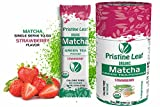 Pristine Leaf Organic Matcha Green Tea Powder, Strawberry Flavored, 12 Single Serving Packs Anytime Anywhere To Go, No Sugar, No Fillers, No Additives, All Natural, Calorie Free, Vegan, Gluten Free