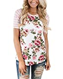 MEROKEETY Women's Floral Print Striped Tee Crew Neck Shirt Short Sleeve Tops with Pocket