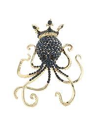 Ever Faith Octopus Paul Crown Brooch Austrian Crystal