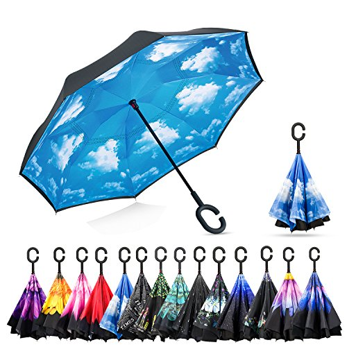 Elover Double Layer Inverted Umbrellas Reverse Umbrella with C-Shaped Handle Windproof UV Protection Reverse Umbrella for Car Rain Outdoor (Meteor Shower)
