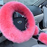 Etbotu Steering Wheel Cover,Soft Winter Warm Sheepskin Long Wool Most Cars