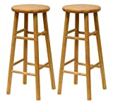 Bar Stool 30 Inch Winsome Wood S/2 Wood 30-Inch Bar Stools, Natural Finish