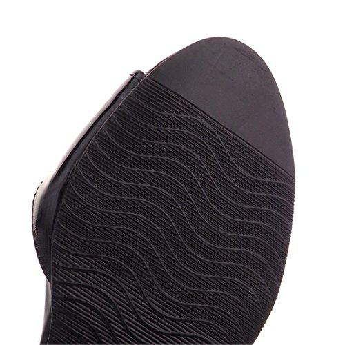 Gran Primavera Boca con de Black AIKAKA Vidrio de Verano Tamaño Sandalias Pescado Zapatos Mujer qnt8wYP