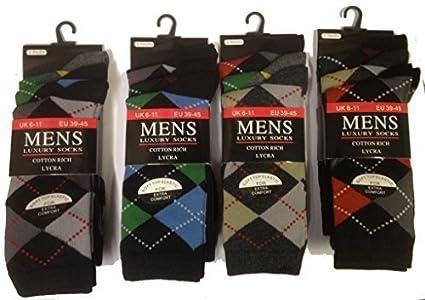 12 Pares Para Hombres De Cuadros Escoceses Diseñador Calcetines De Algodón Lycra Diseño Calcetines De Tamaño
