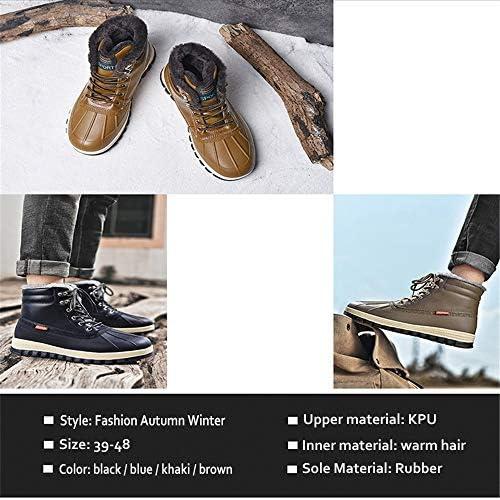 MH Mens Snow Boots, Inverno Stivaletti Caldo Completamente Allineato Pelliccia di Anti-Slip in Pelle Stivali da Lavoro Escursionismo Outdoor,Nero,48
