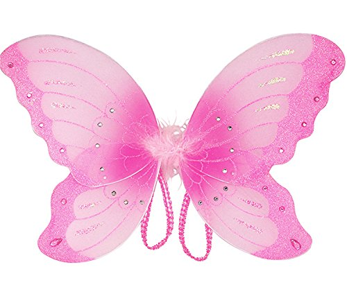Mozlly 14 inch Pink Sparkle Butterfly Wings for Children - Costume, Princess, Fairy - Item #110016