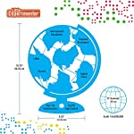 Illuminated World Globe for Kids with Stand – Built-in LED Light Illuminates for Night View – 8 Inch Diameter