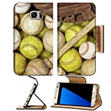 Luxlady Premium Samsung Galaxy S7 EDGE Flip Pu Leather Wallet Case IMAGE ID 4580208 a picture of baseballs softballs a bat and glove Review
