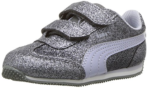 PUMA Girls Whirlwind Glitz V Sneaker, Quiet Shade-Icelandic Blue, 2 M US Little Kid